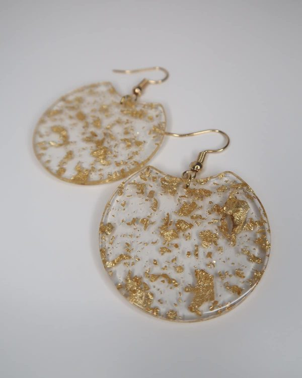Stunning gold fleck earring - the perfect finishing touch to any outfit. Rose gold hook (nickel and lead free) with acrylic/acetate charm