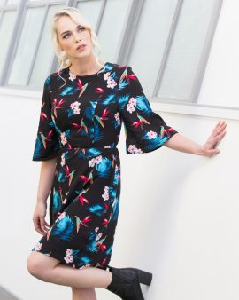 Made in a soft, light print fabric, this dress combines a wide floaty sleeve with an A-line skirt and attached belt for a flattering and stylish look. Our unique breast access design means you'd never know this was a breastfeeding dress and you have total control over the level of breast access you want/need with the movable inner lining.